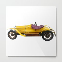 Yellow Vintage Sports Car Metal Print