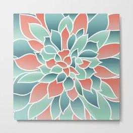 Floral Prints, Art Designs, Coral and Teal, Arts Prints Metal Print