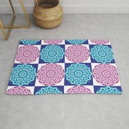 Blue and pink mandala pattern Rug