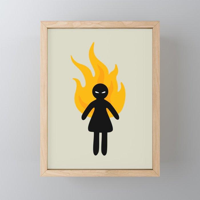 Beware of The Angry Girl Framed Mini Art Print