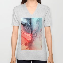 Undertow Meets Lava- Alcohol Ink Painting Unisex V-Neck
