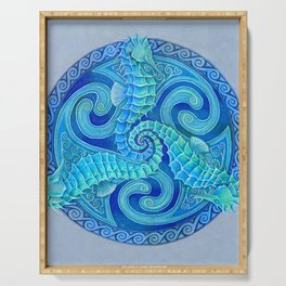 Seahorse Triskele Celtic Blue Spirals Mandala Serving Tray