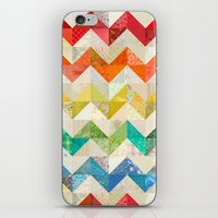 quilt iPhone & iPod Skins featuring Chevron Rainbow Quilt by Rachel Caldwell