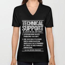 Technical Support Definition T-Shirt Tech Tee Unisex V-Neck
