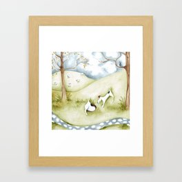 Dog sheep original art Jack Russell Terrier painting landscape Framed Art Print