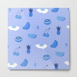 Monochrome fruit (blue) Metal Print
