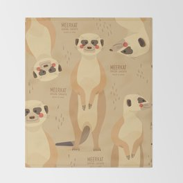 Meerkat, African Wildlife Throw Blanket
