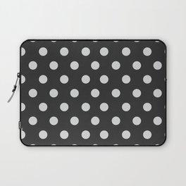 Dark Slate Grey Thalertupfen White Pōlka Large Round Dots Pattern Laptop Sleeve