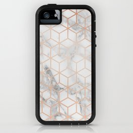 Marble & Rose Gold Squares iPhone Case