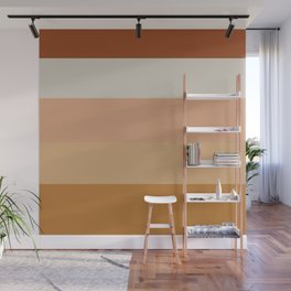 Soothing Earth Tone Stripes Minimalist Pattern in Rust, Terracotta, Millennial Pink, and Apricot Wall Mural