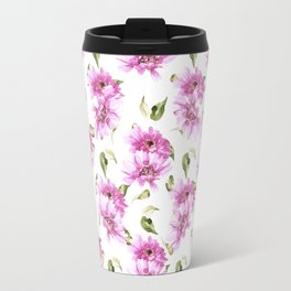 Modern hand painted lilac pink watercolor floral daisies pattern Travel Mug