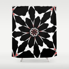 Bizarre Red Black and White Pattern 4 Shower Curtain