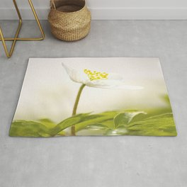 Wood Anemone Blooming in Forest #decor #society6 #buyart Rug