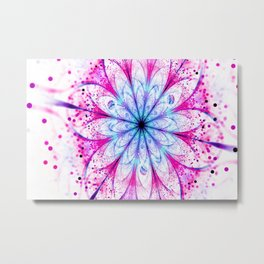Winter Pink glittered Snowflake Metal Print