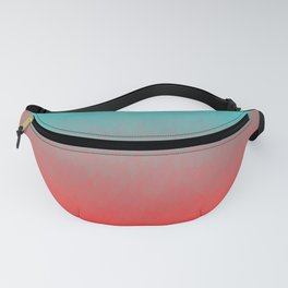 Cyan to red ombre flames Miami Sunset Fanny Pack