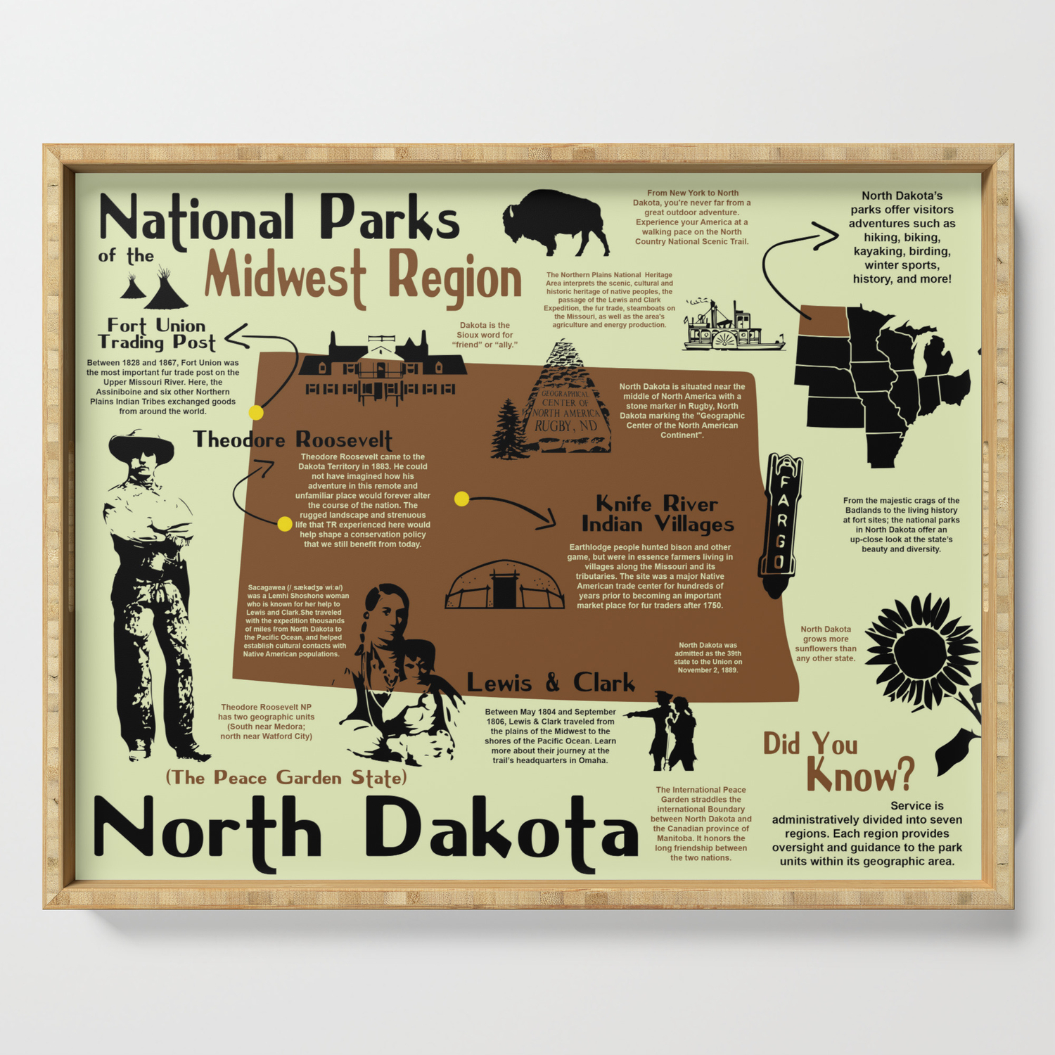 North Dakota National Parks Infographic Map Serving Tray by bravuramedia