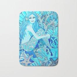 Mermaid Watercolor Coral Reef Bath Mat