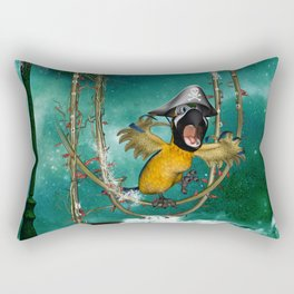 Funny pirate parrot with hat Rectangular Pillow