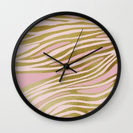 Gold Pink Dancing Lines Wall Clock