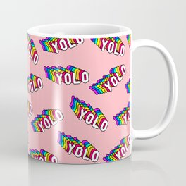 "Patches with rainbow words ""YOLO"" (you only live once) Coffee Mug"