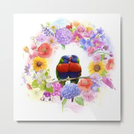 arrangement of colorful flowers and parrots watercolor Metal Print