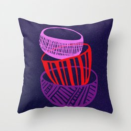 Stacked Bowls Woodcut Throw Pillow