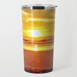 Golden Sunset Beach by Reay of Light Travel Mug