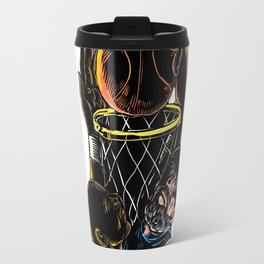 Basketball Player Dunking Blocking Ball Tattoo Travel Mug