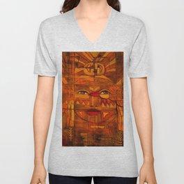 Indigenous Inca Sun God Inti portrait painting by Ortega Maila Unisex V-Neck