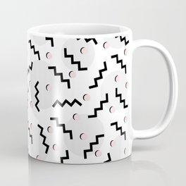 Old School Retro Funky Memphis 80's Pattern Black White Grey Pink Coffee Mug