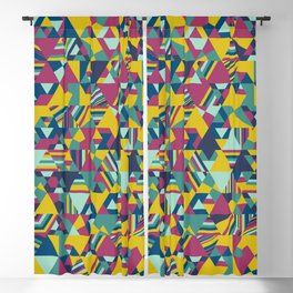 Colourful triangular mosaic in blue, yellow and burgundy Blackout Curtain
