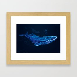 Digital Smoke Art - Free Flowing I - Blue Whale Framed Art Print