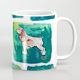 Dogs on Spring and Emerald Green Painting Coffee Mug
