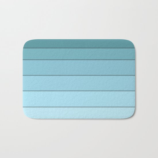 Colorful geometric striped pattern in shades of blue . Bath Mat