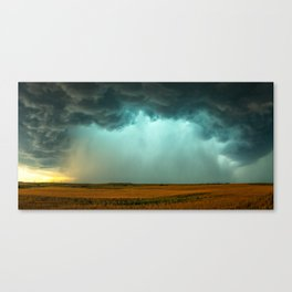 Open the Heavens - Panoramic Storm with Teal Hue in Northern Oklahoma Canvas Print