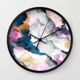 view from a hill: abstract watercolor painting. Wall Clock