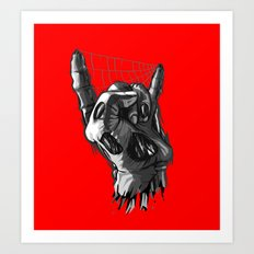 Zombie Horns on Red - No Pick Art Print