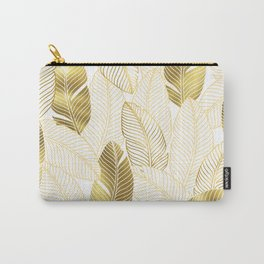 Gold tropical leaves pattern Carry-All Pouch