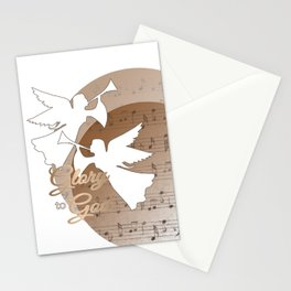 Glory to God - with Angels and Trumpets Heralding Jesus Birth Stationery Cards