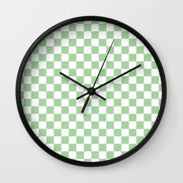 Mint Checkerboard Pattern Wall Clock