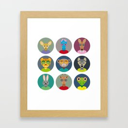 Set of animals faces circle icons set in Trendy Flat Style. zoo Framed Art Print