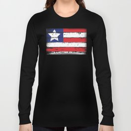 Wood Grain American Flag 4th of July with Fade Print Long Sleeve T-shirt