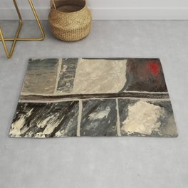 Textured Marble Popular Painterly Abstract Pattern - Black White Gray Red - Corbin - Artist Rug