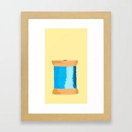 Blue Spool Of Thread Framed Art Print