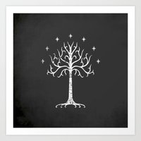 gondor Art Prints featuring White Tree of Gondor by Nxolab