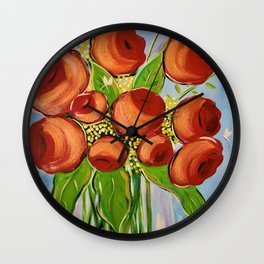 Vase of Roses Wall Clock