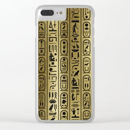 Black hieroglyphs pattern on Ancient Gold Clear iPhone Case