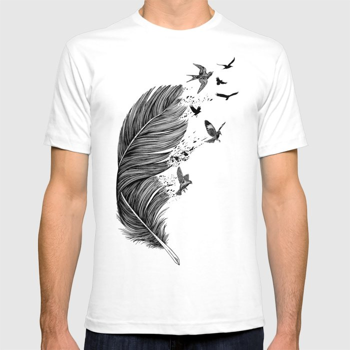 Feather Birds BW T-shirt