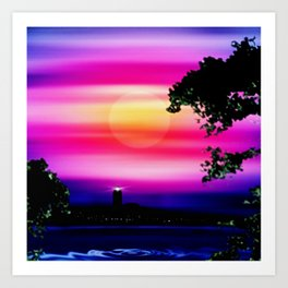 Evening sun on the coast. Art Print