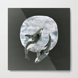 orcas' moon dance Metal Print